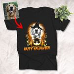Happy Halloween Witch Dog With Full Moon Customized Dog Photo Sketch T-Shirt Gift For Halloween, Spooky Dog Lover
