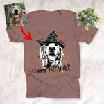 Happy Fall Y'all Customized Autumn Dog Sketch T-Shirt Gift For Halloween, Fall and Dog Lover