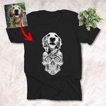 Sugar Skull Dog Sketch T-Shirt Gift For Halloween, Spooky Dog Lover