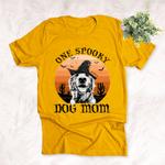 Halloween Customized Dog Witch Portrait T-Shirt Sunset Desert Background
