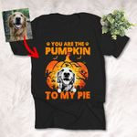 Halloween Customized Dog Sketch Portrait With Pumpkin T-Shirt
