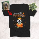 Dog Mom Of The Little Pumpkin Customized Portrait  Pet Sketch T-Shirt Gift For Dog Lover, Halloween, First Day Of Fall