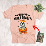 Customized Dog With Pumpkin Halloween T-Shirt Dog Lover Gift