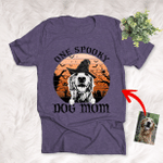Customized Halloween Witch Hat Pet Portrait Full Moon Vintage Background T-Shirt