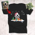 Christmas Sketch Pet Portrait T-shirt Xmas Gift For Dog Mom, Dog Dad, Pet Parents