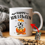 Customize Dog With Pumpkin Halloween Coffee Mug Gift For Spooky Dog Mom, Fur Mom, Dog Lovers