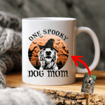 Halloween Custom Pet Portrait Witch Hat Vintage Full Moon Coffee Mug Gift For Spooky Dog Mom, Fur Mom, Dog Lovers