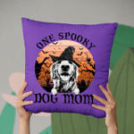 Halloween Custom Pet Portrait Witch Hat Vintage Full Moon Pillow Case Gift For Spooky Dog Mom