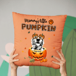 Mommy's Little Pumpkin Custom Pet Portrait Pillow Case Gift For Spooky Dog Mom