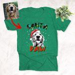Xmas Santa Paw Dog Crew Portrait Custom T-Shirt Gift For Christmas