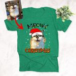 Santa Hat Personalized Colorful Painting Pet Portrait Christmas T-Shirt Gift For Xmas