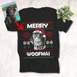 Personalized Sketch Pet Portrait Merry Woofmas Christmas Dog Lover Xmas T-Shirt