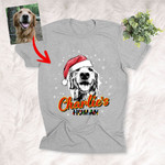 Christmas Vibes Personalized Sketch Pet Portrait T-Shirt Gift For Xmas