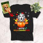 Happy Hallothanksmas Colorful Dog Halloween Pumpkin T-Shirt Dog Lover Gift