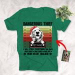 Dangerous Thief Custom Pet Portrait T-Shirt Vintage Background Gift For Christmas