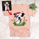 Customized Christmas 2021 Sketch Pet Portrait Vintage Ribbon T-Shirt Gift For Christmas