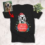 Customized Merry Christmas 2021 Sketch Pet Portrait T-Shirt Gift For Dog Lovers, Dog Mom. Dog Dad