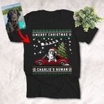 Merry Christmas Sketch Pet Portrait Ugly Pattern T-Shirt Xmas Gift