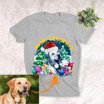 Merry Christmas Pet Portrait Xmas Tree T-Shirt Santa Dog Shirt For Dog Lover