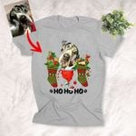 HO HO HO Christmas Shirts Xmas Socks T-Shirt For Dog Lover