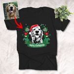 Customized Christmas 2021 Sketch Wreathe Pet Portrait T-Shirt Gift For Christmas