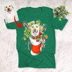Christmas Sock Funny Dog Portrait T-Shirt Xmas Gift For Dog Owners