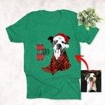 Ho Ho Ho Christmas Scraf Funny Dog Portrait T-Shirt Xmas Gift For Dog Owners