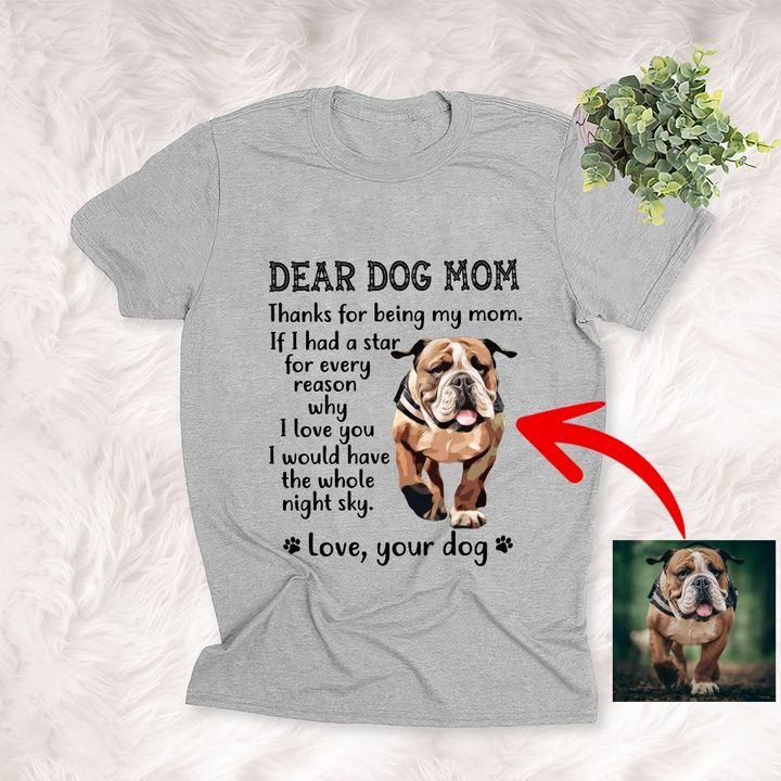 Thanks, Dog Mom Hand Letter Personalized Unisex T-shirt, Meaningful Gift For Dog Mom, Dog Owners