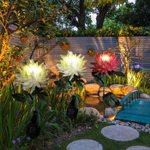 Spring Artificial Chrysanthemum Solar Garden Stake Led