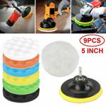"9pcs 5"" Polishing Pads Sponge Buffer Buffing Foam Kit Set Car Polisher For Drill"