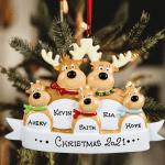 Personalized Reindeer Family Ornament Custom Handwritten Names