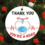 Thank You You'Re a Hero Heathcare Worker Face Mask Nursing Christmas Ornament