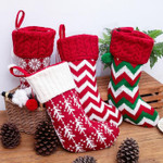 Knitted Christmas Stockings Embroidered Red Snowflake Knit Stocking
