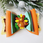Thanksgiving Bow Clip Turkey Glitter Leather Bow Alligator Clip Thanksgiving Turkey Glitter Bow Clip