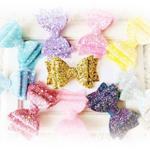 Glitter Bow Clip Pick Your Color Glitter Leather Bow Alligator Clip Glitter Easter Bow Clips