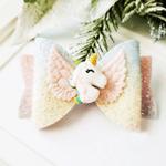 Unicorn Bow Clip Pastel Rainbow Glitter Leather Bow Alligator Clip Unicorn Glitter Bow Clip