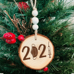 Personalized 2021 Chic Wood Christmas Ornament