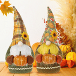 Halloween Gnomes | Fall Harvest Gnome Pumpkin Plaid Doll