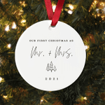 Our First Christmas Engaged With Name And Date Porcelain Ceramic Christmas Ornament