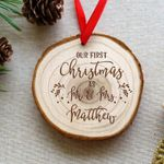 First Christmas Wooden Bauble Ornament Christmas Gift For Newlyweds