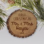Engraved First Mr. & Mrs. Rustic Wood Christmas Ornament