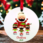 Personalized Mrs Claus Grandma Mask 2021 Gift Christmas Ornament