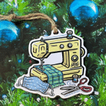 Sewing Machine With Face Mask - Christmas 2021 Ornament
