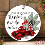 Gnome Gift Our First Christmas Married Red Pickup Truck Christmas Ornament