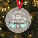 Funny Ornament Our First Christmas 2021 Masks Wedding Marriage Newlywed Mr And Mrs