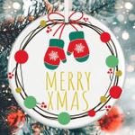 Merry Christmas Ornament Cute Gloves Ornament