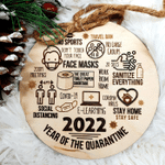 Pandemic Christmas Ornament Wood Engraved