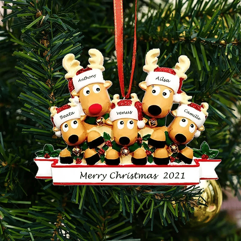 Personalized Reindeer Family Ornament 2021 Family Xmas Moose Decor
