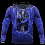 3D TATTOO AND DUNGEON DRAGON HOODIE blue