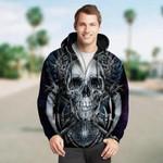 3D Skull and Death Scythe Unisex Zip Up Hoodie 011